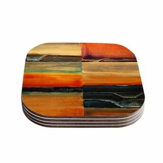 Kess InHouse Nathangibbsart 'Fournication' Orange Coastal Coasters (Set of 4)