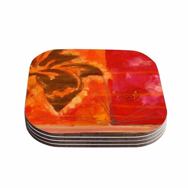 Kess InHouse Nathan Gibbs 'Destination: She Surfs' Orange Floral Coasters (Set of 4)