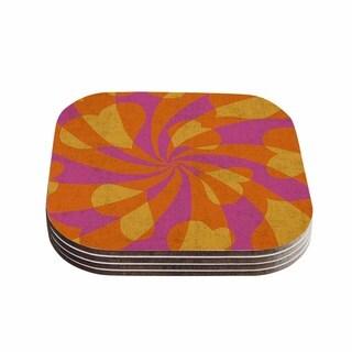 Kess InHouse Nacho Filella 'Heart Explosion' Magenta Pop Art Coasters (Set of 4)