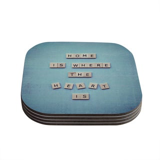 Kess InHouse Nastasia Cook 'Home Is Where The Heart Is' Blue Typography Coasters (Set of 4)