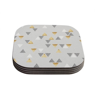 Kess InHouse Nick Atkinson 'Triangle Love' Grey Gold Coasters (Set of 4)