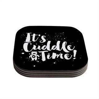 Kess InHouse Nick Atkinson 'Cuddle Time' Black White Coasters (Set of 4)