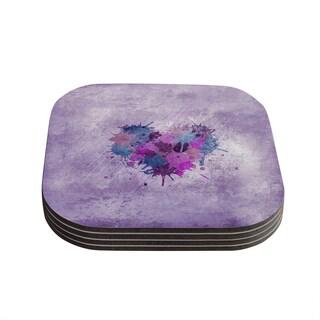 Kess InHouse Nick Atkinson 'Painted Heart' Coasters (Set of 4)