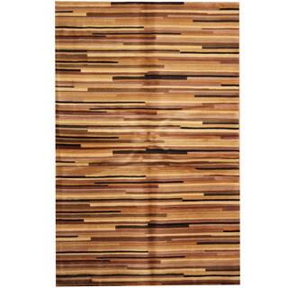 Herat Oriental Indo Hand-tufted Tibetan Ivory/ Tan Wool Area Rug (5'3 x 8')