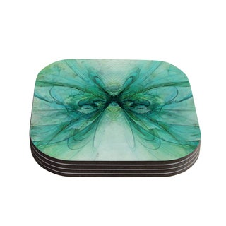"Kess InHouse Alison Coxon ""Butterfly Blue"" Green Black Coasters (Set of 4) 4""x 4"""