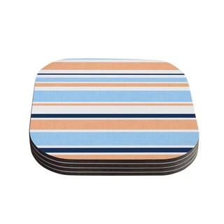 Kess InHouse Alison Coxon 'Jack Tar Pink' Blue Orange Coasters (Set of 4)