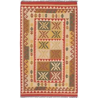 eCarpetGallery Anatolian Handwoven Yellow Wool Kilim (4'2 x 6'9)
