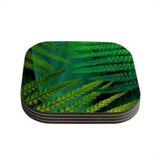 Kess InHouse Alison Coxon 'Forest Fern Green' Plant Coasters (Set of 4)