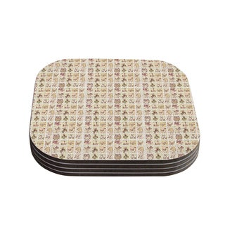 Kess InHouse Marianna Tankelevich 'Cute Birds' Tan Grid Coasters (Set of 4)