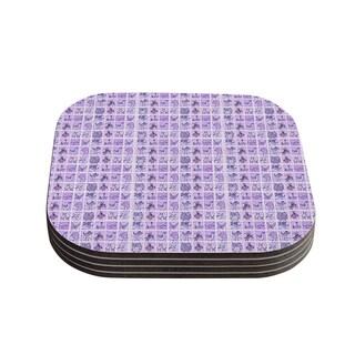 Kess InHouse Marianna Tankelevich 'Cute Birds Purple' Pink Lavender Coasters (Set of 4)