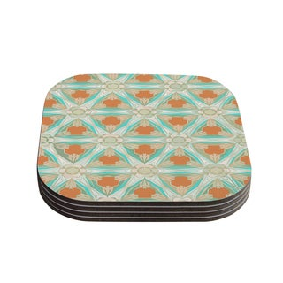 Kess InHouse Alison Coxon 'Moorish Teal' White Teal Coasters (Set of 4)