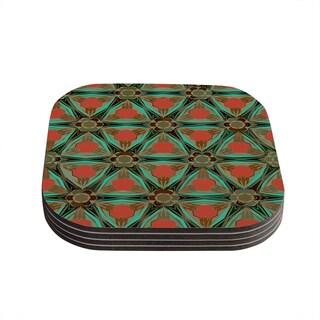 Kess InHouse Alison Coxon 'Moorish Earth' Teal Orange Coasters (Set of 4)