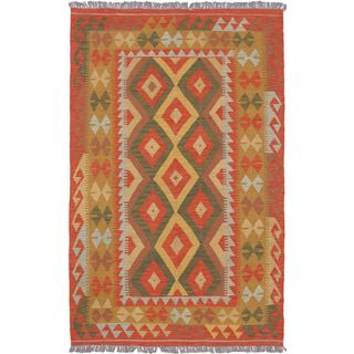 eCarpetGallery Hand-woven Izmir Orange Wool Kilim (4'2 x 6'7)