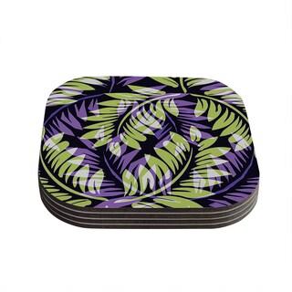 "Kess InHouse Alison Coxon ""Dark Fern"" Green Purple Coasters (Set of 4) 4""x 4"""