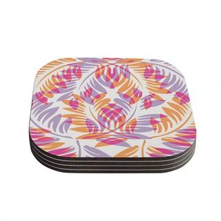 "Kess InHouse Alison Coxon ""Summer Fern"" Pink Orange Coasters (Set of 4) 4""x 4"""