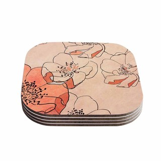 """Kess InHouse Alison Coxon """"Painted Wild Roses"""" Coral Floral Coasters (Set of 4) 4""""x 4"""""""