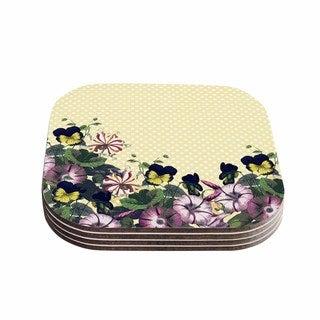 Kess InHouse Alison Coxon 'Polka Dot' Purple Yellow Coasters (Set of 4)