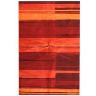 Herat Oriental Indo Hand-tufted Tibetan Red/ Rust Wool Area Rug (5'3 x 8')
