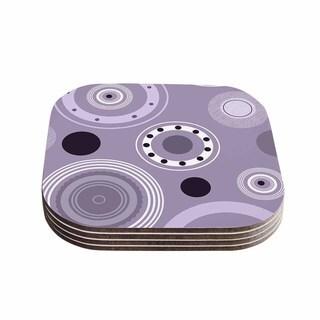 Kess InHouse Alison Coxon 'Purple Circles' Purple Digital Coasters (Set of 4)