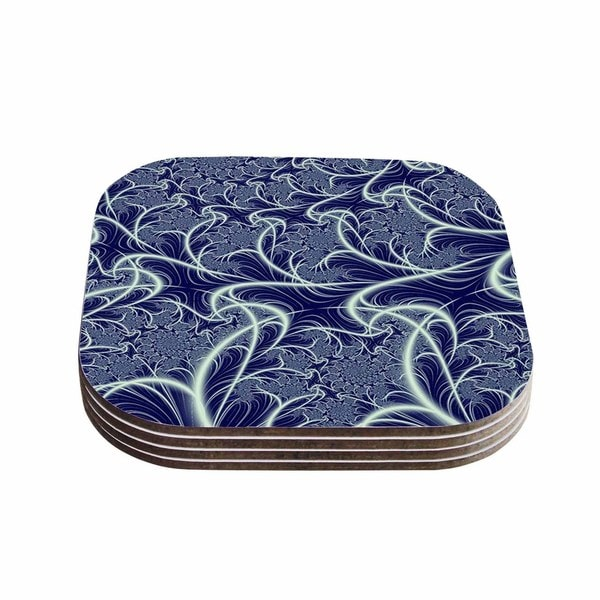 "Kess InHouse Alison Coxon ""Midnight Dreams"" Blue White Coasters (Set of 4) 4""x 4"""