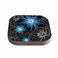 "Kess InHouse Alison Coxon ""Charcoal And Cobalt"" Gray Blue Coasters (Set of 4) 4""x 4"""