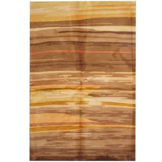 Herat Oriental Indo Hand-tufted Tibetan Tan/ Gold Wool Area Rug (5'3 x 8')