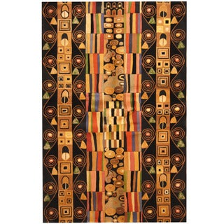 Herat Oriental Indo Hand-tufted Tibetan Black/ Gold Wool Area Rug (5'3 x 8')