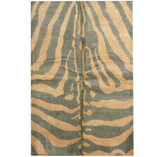 Herat Oriental Indo Hand-tufted Tibetan Teal/ Ivory Wool Area Rug (5'3 x 7'10)