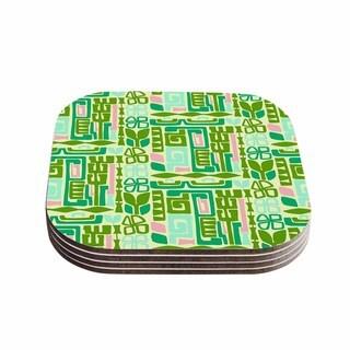 Kess InHouse Amy Reber 'Maze' Green Vector Coasters (Set of 4)
