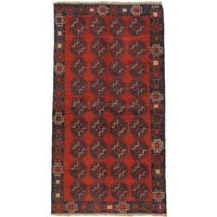 eCarpetGallery Hand-knotted Bahor Red Wool Rug (3'3 x 6'2)