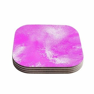 "Kess InHouse Ashley Rice ""AC5"" Abstract Pink Coasters (Set of 4) 4""x 4"""