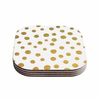 Kess InHouse Nika Martinez 'Golden Dots' White Yellow Coasters (Set of 4)