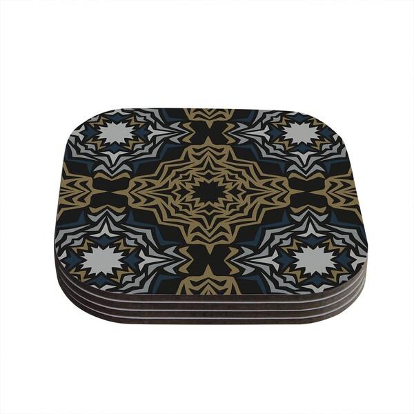 Kess InHouse Miranda Mol 'Golden Fractals' Coasters (Set of 4)