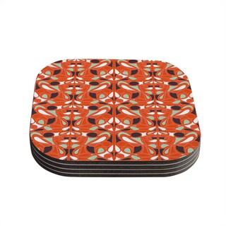 Kess InHouse Miranda Mol 'Orange Swirl Kiss' Coasters (Set of 4)