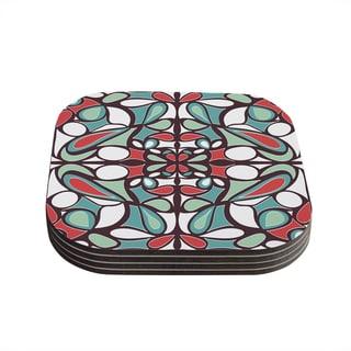 Kess InHouse Miranda Mol 'Brown Round Tiles' Coasters (Set of 4)
