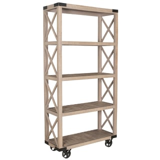 Tall Grey Metal and Wood Wheel Bookcase
