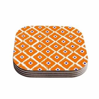 Kess InHouse Nick Atkinson 'The Lucky One' Orange Navy Coasters (Set of 4)