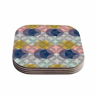 Kess InHouse Maike Thoma 'Retro Spring' Blue Pink Coasters (Set of 4)