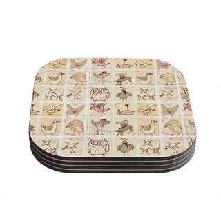 Kess InHouse Marianna Tankelevich 'Birdies' Yellow Brown Coasters (Set of 4)