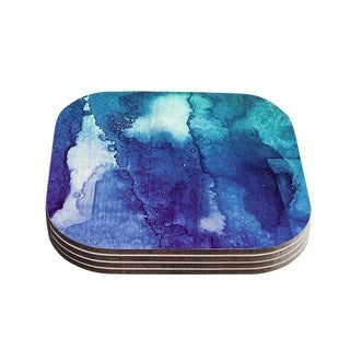 Kess InHouse Malia Shields 'Blues Abstract Series 1' Green Teal Coasters (Set of 4)