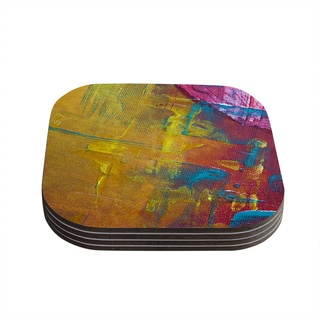 Kess InHouse Malia Shields 'Cityscape Abstracts III' Pink Yellow Coasters (Set of 4)