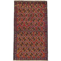eCarpetGallery Hand-knotted Bahor Red Wool Rug (3'7 x 6'5)