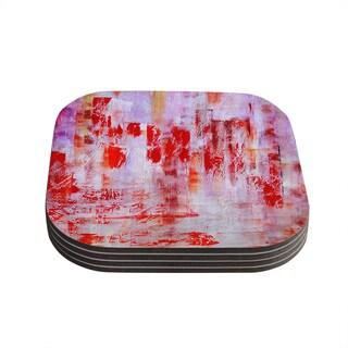 Kess InHouse Malia Shields 'Painted Cityscape' Pink Red Coasters (Set of 4)
