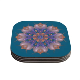 Kess InHouse Michael Sussna 'Whisker Lily' Orange Teal Coasters (Set of 4)