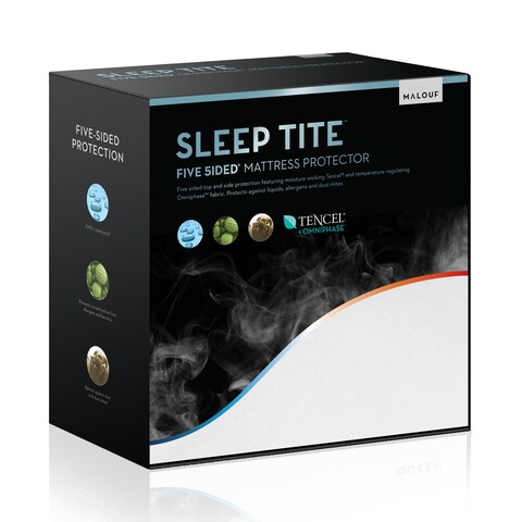 Sleep Tite 5-sided Omniphase Cooling Fitted Mattress Protector - White