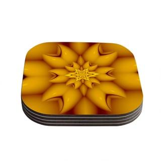 Kess InHouse Michael Sussna 'Citrus Star' Orange Yellow Coasters (Set of 4)