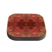 Kess InHouse Nikposium 'Sedona' Orange red Coasters (Set of 4)