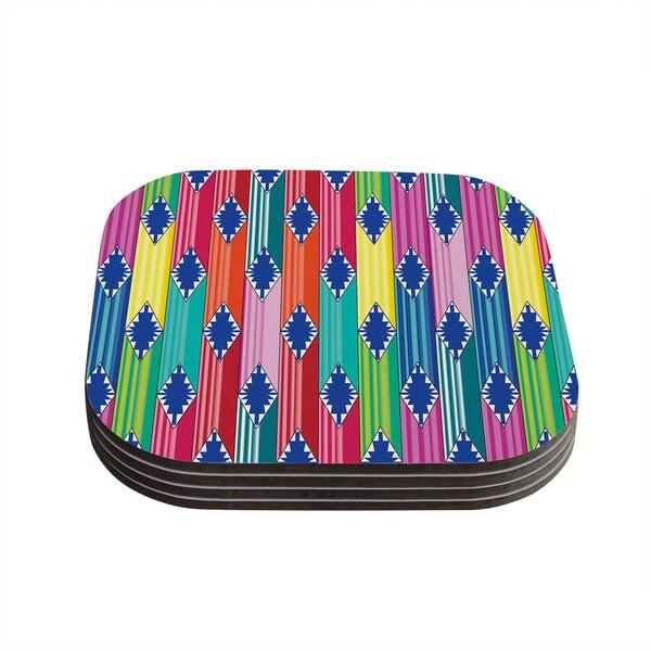 """Kess InHouse Anneline Sophia """"Blanket"""" Rainbow Tribal Coasters (Set of 4) 4""""x 4"""""""