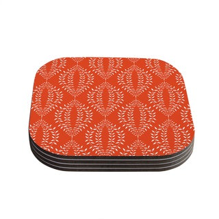"Kess InHouse Anneline Sophia ""Laurel Leaf Orange"" Red Floral Coasters (Set of 4) 4""x 4"""