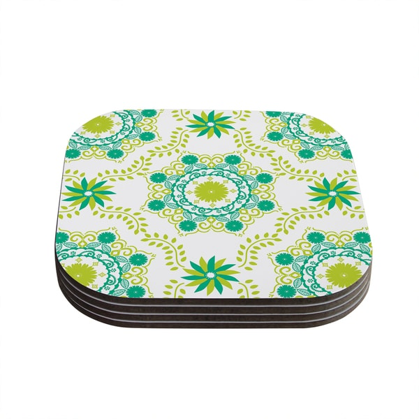 "Kess InHouse Anneline Sophia ""Let's Dance Green"" Teal Floral Coasters (Set of 4) 4""x 4"""